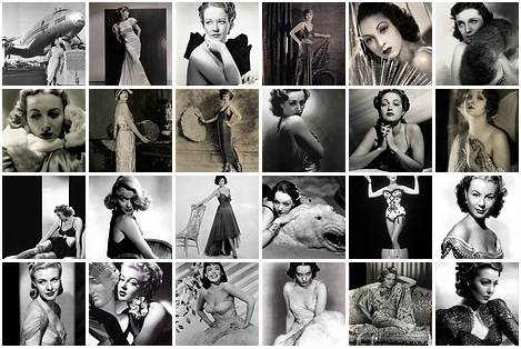 ... of vintage black and white photo's of female music and movie stars like ...